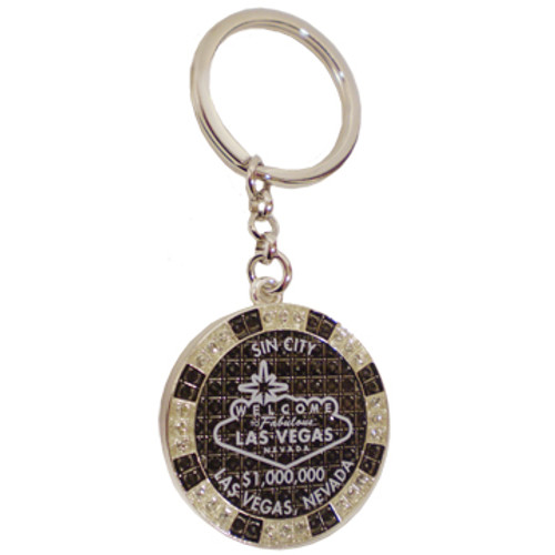 Metal Keychain designed to resemble a Las Vegas SIN CITY $1,000,000 Poker Chip.