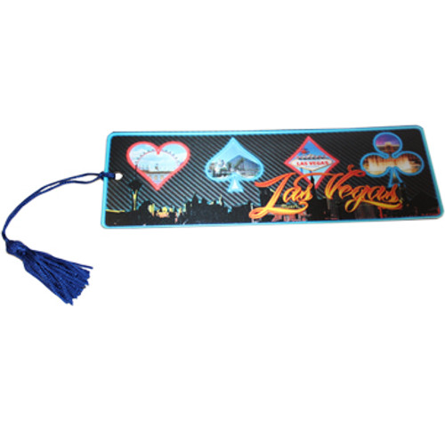 Bookmark with colorful Card Suits Las Vegas theme and Blue tassel.