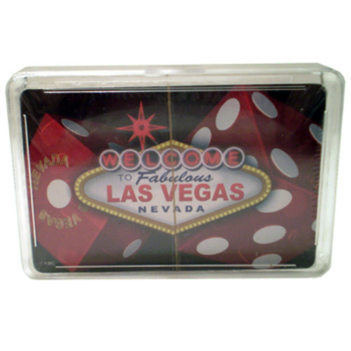 New Playing Cards in a Clear Box for Storage. This deck features our DICE design which has big red dice in the background of a Bursting Las Vegas Welcome Sign.