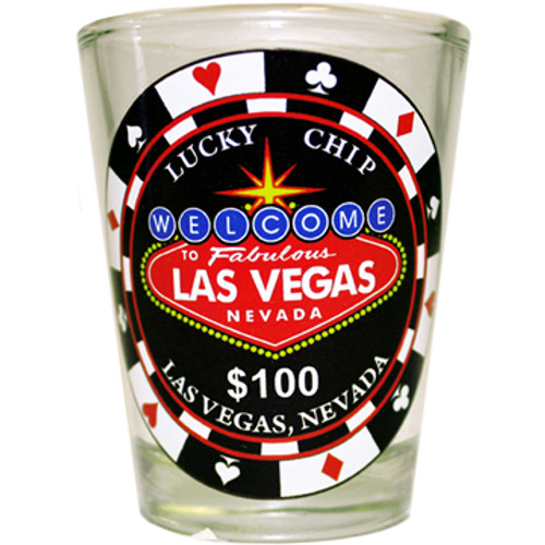Las Vegas Shotglass Lucky Chip $100