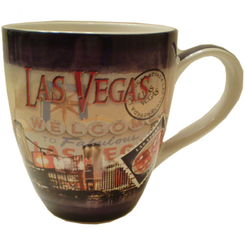 Oversized Las Vegas ceramic coffee mug with a  Las Vegas Stamp design and a hotel collage of the strip in the background.