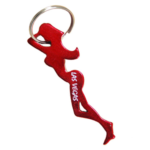 Lightweight aluminum lady shape bottle opener keychain from Las Vegas.