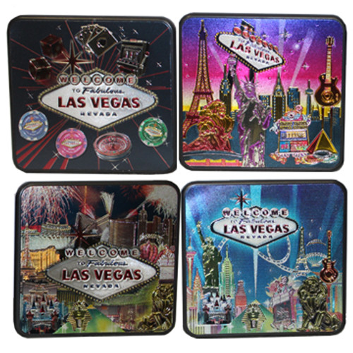Metallic Square Coaster Set with 4 different designs make colorful Las Vegas souvenirs.
