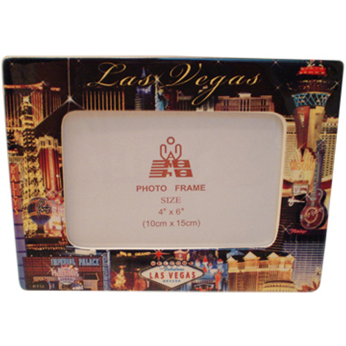 Black background on this ceramic Photo Frame showcasing the Beautiful Las Vegas Casinos in full color for a pop of contrasting elements all around the edges.