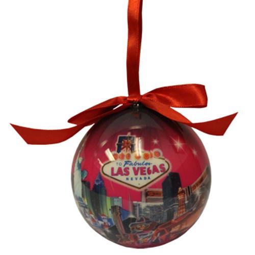 Las Vegas Ball Ornament- Pink Skyline