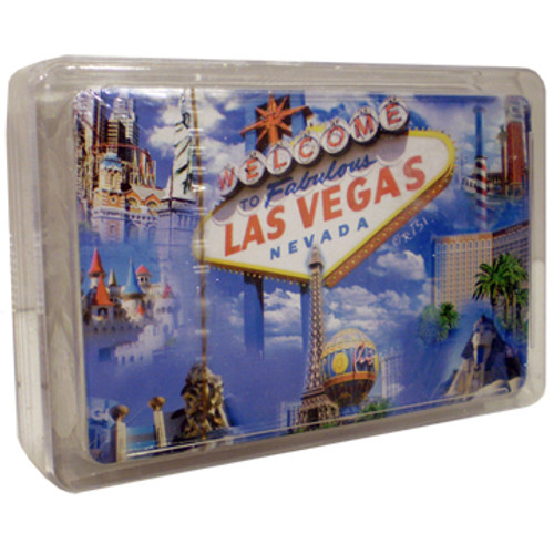 New Playing Cards in a Clear Box for Storage. This deck features our LV Sign and Cloud design which shows Vegas Casinos on a blue sky background.