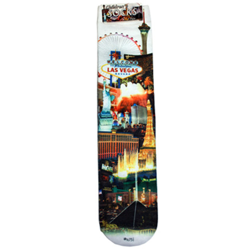 Child Size White Sock with Iconic Las Vegas Casinos in the background and our White Skyline design.