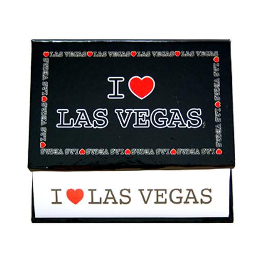 Memo Pad of White Paper held by it's Black Design I Love Las Vegas holder.