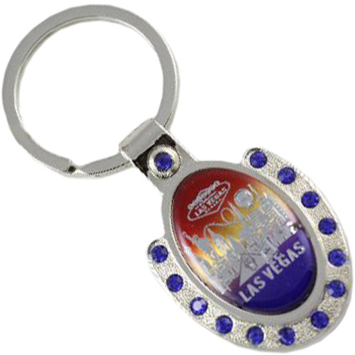 Colorful Horseshoe Shape Las Vegas Key Chain with Blue Rhinestones.