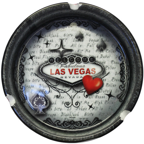 Round ceramic Las Vegas Souvenir Ashtray which features a Red and Gray Design LV Sign and Heart.