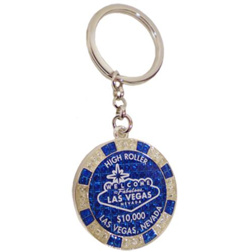 Metal Keychain designed to resemble a Las Vegas Royal Blue $10,000 Poker Chip.