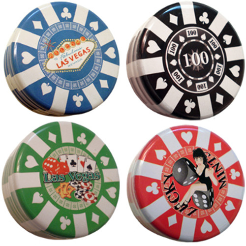 Set of 4 Poker chip shaped tin mints containers. One in blue, black, green, red.