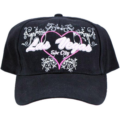 Black Baseball style cap with Las Vegas in fancy font, surrounded by a pink heart design and fancy scrolls.