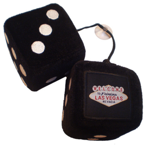 Solid Black Plush Dice Pair. Las Vegas as the one pip.