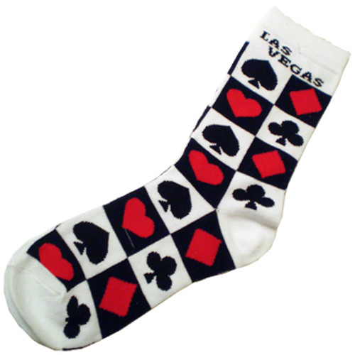 White Sock with Las Vegas on the Top. There are Black and Red Card Suits in boxes all over the socks.