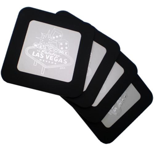 Metal with Black surrounding edges set of 4 square coaster set.