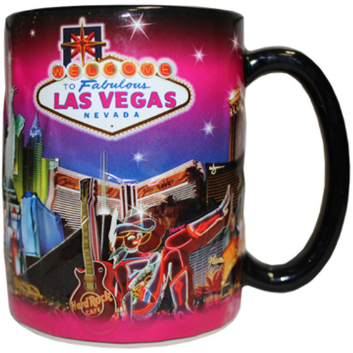 Oversized Las Vegas ceramic coffee mug with a Las Vegas Sign and Pink Skyline design embossed with a vibrant strip background, side view.
