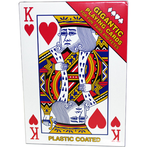 King of hearts shown on the box of these Gigantic playing cards.