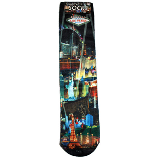 Child Size Black Sock with Iconic Las Vegas Casinos in the background and our Black Spotlights design.
