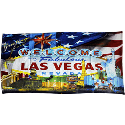 Iconic Las Vegas Casinos with a US Flag background design on this Large size beach towel.