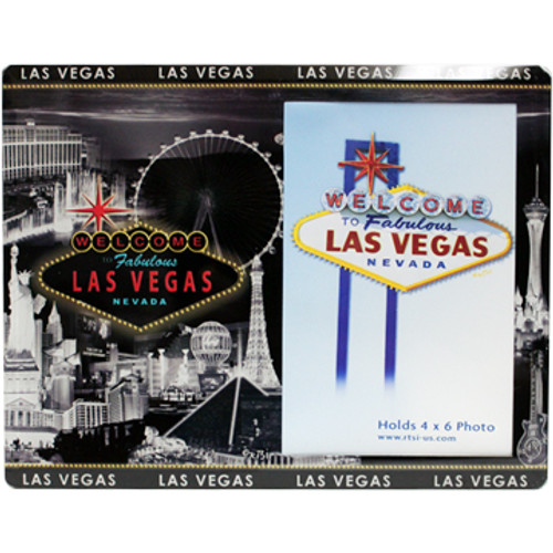 Black, Gray, and White Las Vegas City Scene Glass Photo Frame. The only color in the design is the Welcome to Las Vegas Sign in the middle.