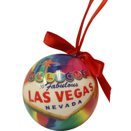 Ball Ornament with a Rainbow Color and Las Vegas Sign design.