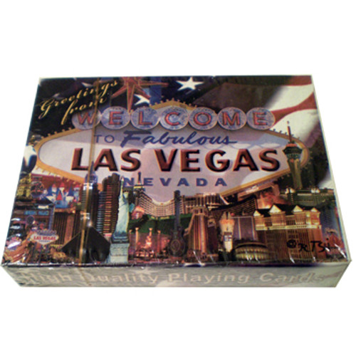 Playing Cards box shows the design on the cards themselves. This design is a US Flag background with a colorful welcome to LV sign and casinos all over them.