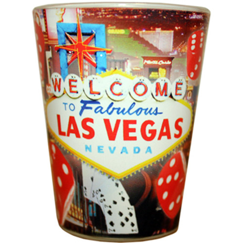Glass Las Vegas shotglass with a full body wrap background, Las Vegas Red Dice all around it.