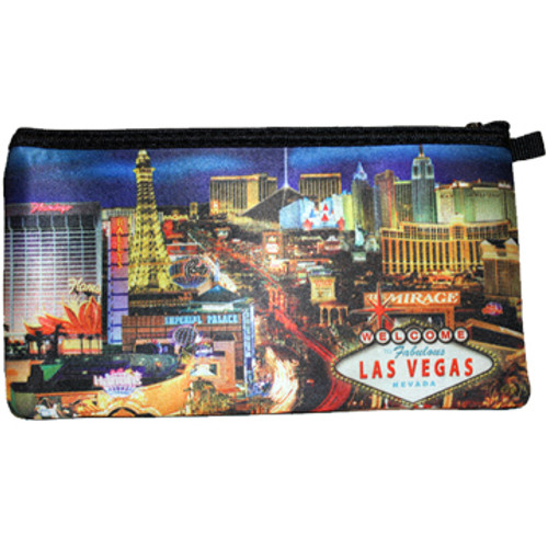 Colorful Strip Print of Las Vegas Casinos with a Blue Background on this zippered Pencil or Cosmetic Carry Case.
