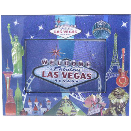 Metallic Blue Las Vegas Scene on this Photo Frame. Colorful Iconic Casinos all of the edges.