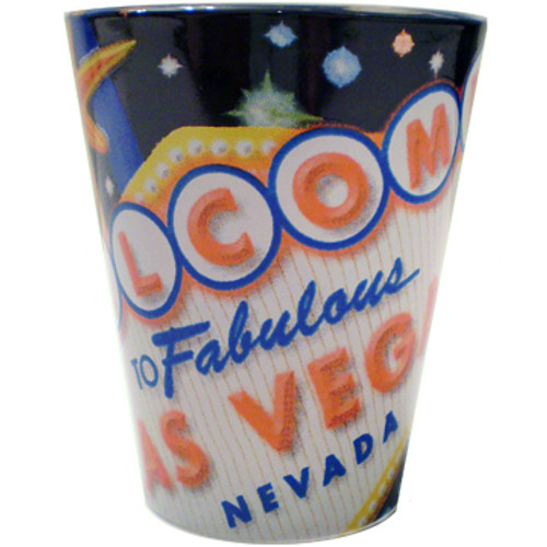 Glass Las Vegas shotglass with a full body black wrap background, Las Vegas up close of the Welcome Sign design all over it.