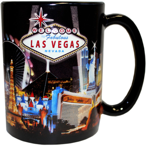 Oversized Las Vegas ceramic coffee mug with a prominent Las Vegas Sign design embossed with a black spotlights background, side view.