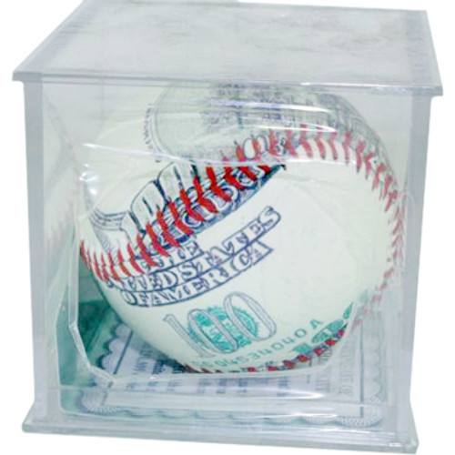 $100 Bill Themed Baseball with Red Stitching in a Clear Protective Display Box.