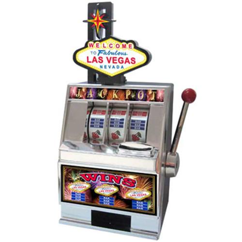 Black & Silver Plastic working Slot Machine Replica. Las Vegas Sign Slot graphics and design on this fun, functioning item.