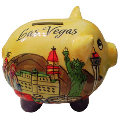 3-D pig shape Yellow puffed up, embossed feel, Las Vegas savings bank.