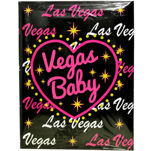"Black Background with hot pink and white Las Vegas and ""Vegas Baby"" inside a hot pink heart design."