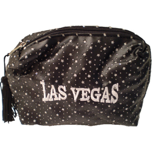 Black Cosmetic Purse with shiny specks all over it and a large White embroidered Las Vegas on the front, black tassel pull zipper.