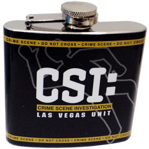 Metal Flask with Black background, Yellow crime scene caution tape, and white CSI Las Vegas logo.