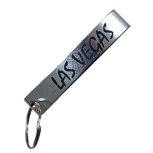 Top view of aluminium bottle opener Las Vegas Keychain.