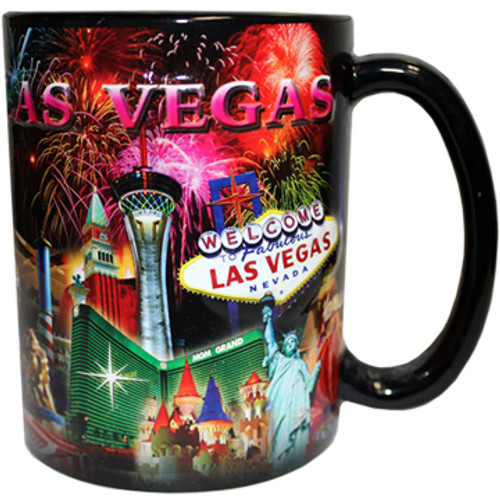 Oversized Las Vegas ceramic coffee mug with a Las Vegas Sign and Fireworks design embossed with a vibrant Fireworks background, side view.