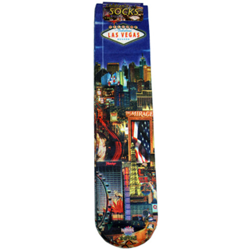 Child Size Blue Sock with Iconic Las Vegas Casinos in the background and our LV Strip design.