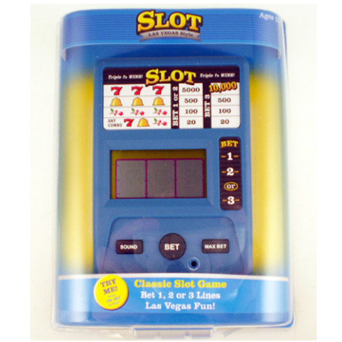 Blue case and black buttons on a electronic slot hand held game.