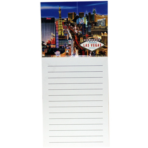 Las Vegas Magnetic Notepad LV Strip design picture on top and paper below.
