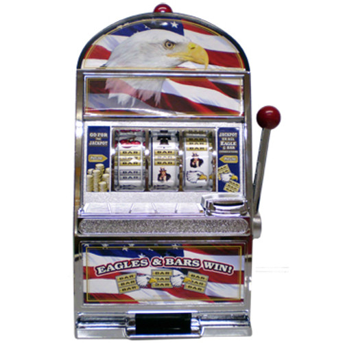Black & Silver Plastic working Slot Machine Replica. Patriotic Slot graphics (Eagle and US Flag) design on this fun, functioning item.
