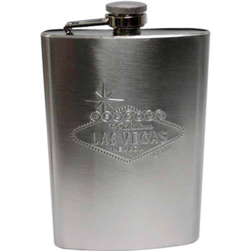 Metal Flask with the Las Vegas Welcome Sign is embossed (puffed out) as the design on the front.