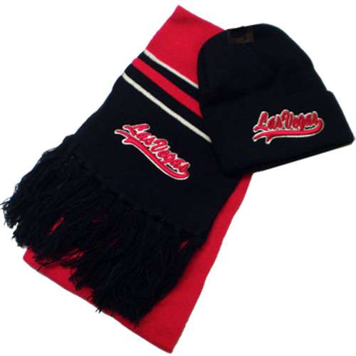 Las Vegas Souvenir Kid's Navy and Red Knit Hat and Scarf Set