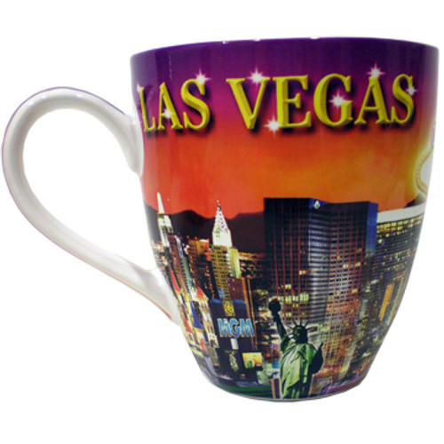 Oversized Las Vegas ceramic coffee mug with a Las Vegas Sunset collage design on a vibrant strip background, side view.