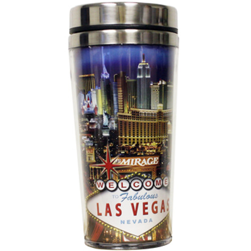 Stainless Steel Sleek Travel Mug which has a Blue Strip Design all over it. Showcases Vegas Casinos on a Blue Sky Background.