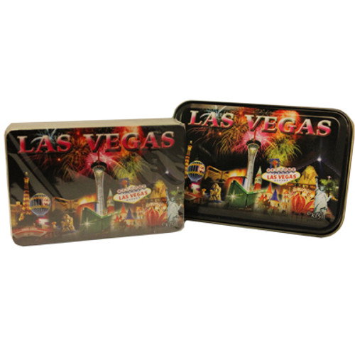 New Playing Cards in a matching Tin Box for Storage. This deck features our Las Vegas Fireworks design which shows Vegas Casinos with Fireworks exploding in the background.