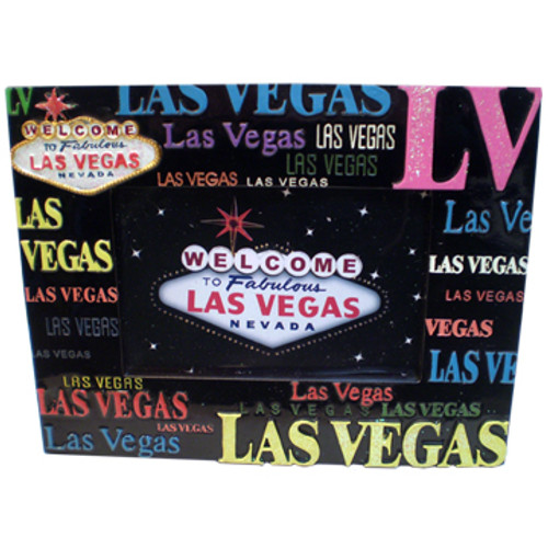 Black Background Las Vegas Photo frame with LV or Las Vegas in multiple colors and fonts all around the edges. Some of the fonts are Glittery.